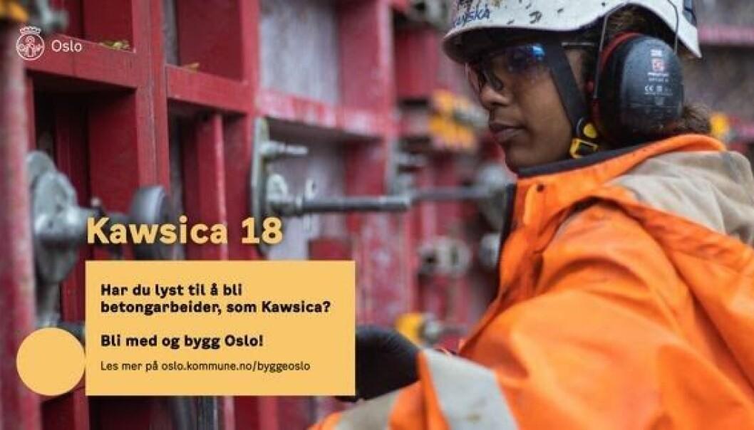 Jenter på byggeplass burde ikke være en «big deal» i 2021. Men fremdeles finner du flest kvinner i omsorgsyrker, mens menn bygger landet, sier Kawsica Rashasingham (18).