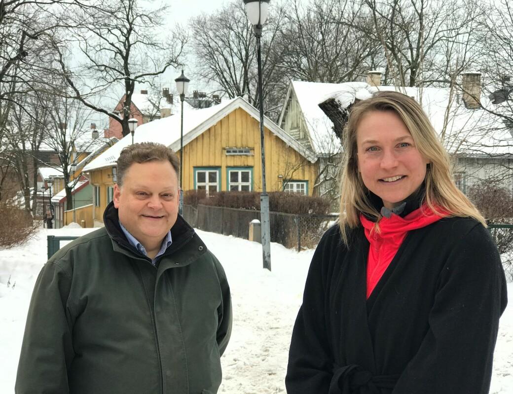 Styreleder Fredrik von Krogh Monclair i De Biermannske legater og prosjektleder Mette Øinæs Habberstad i SoCentral, planlegger for ny virksomhet i Biermannsgården i Maridalsveien 78.