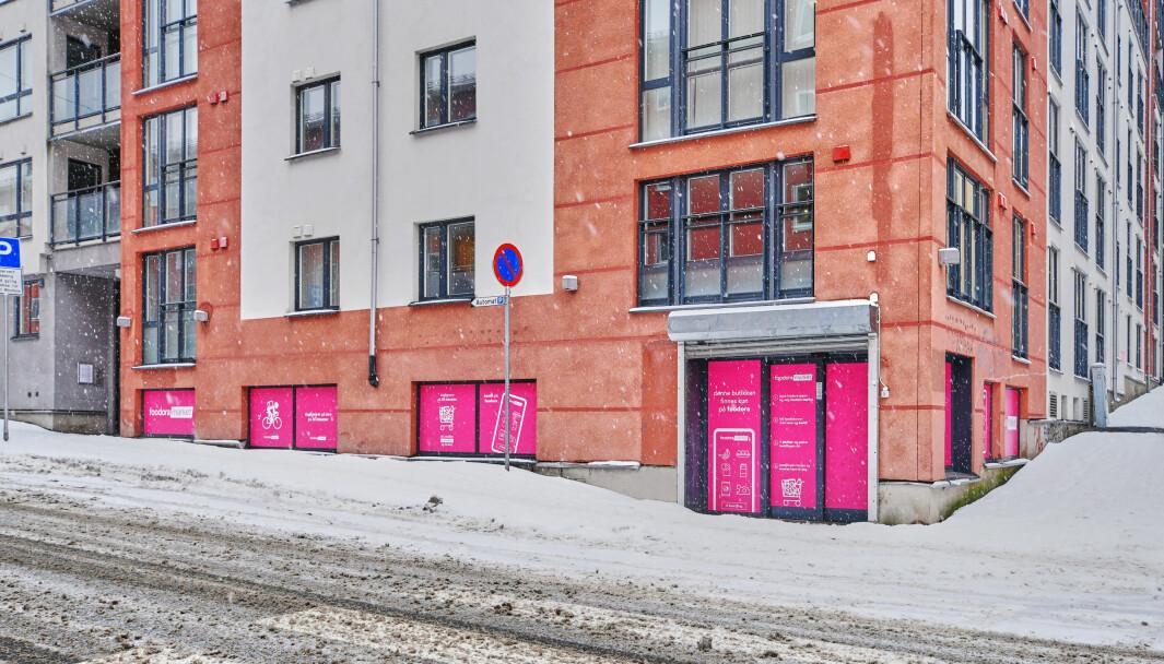 Den nye Foodora-butikken ligger på hjørnet av Vøyensvingen og Lofotgata i bydel Sagene..
