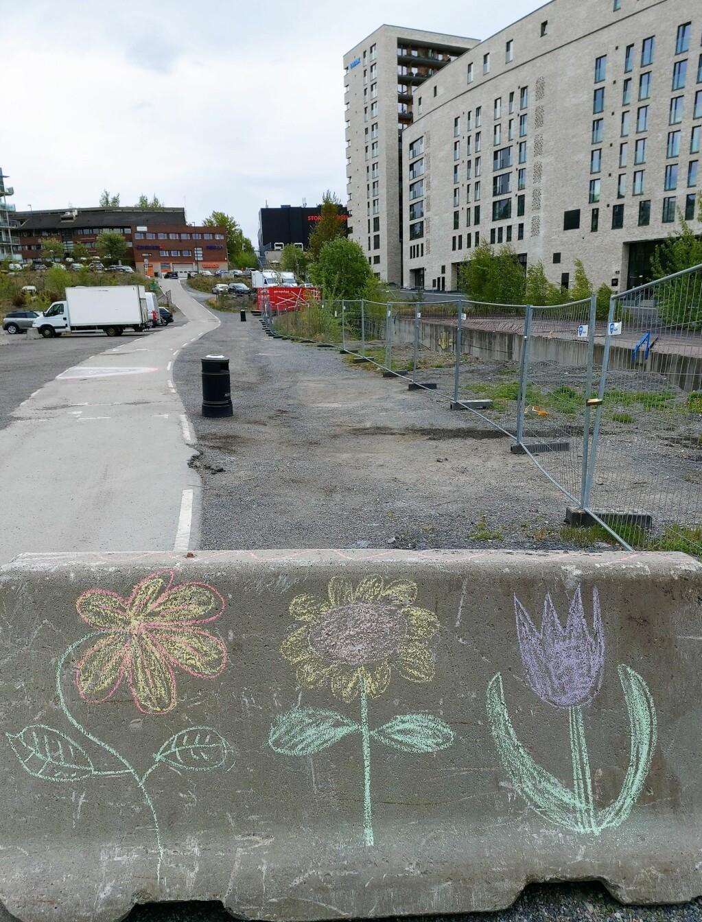 På denne (tomme) parkeringsplassen var det tanker om en BMX-bane.