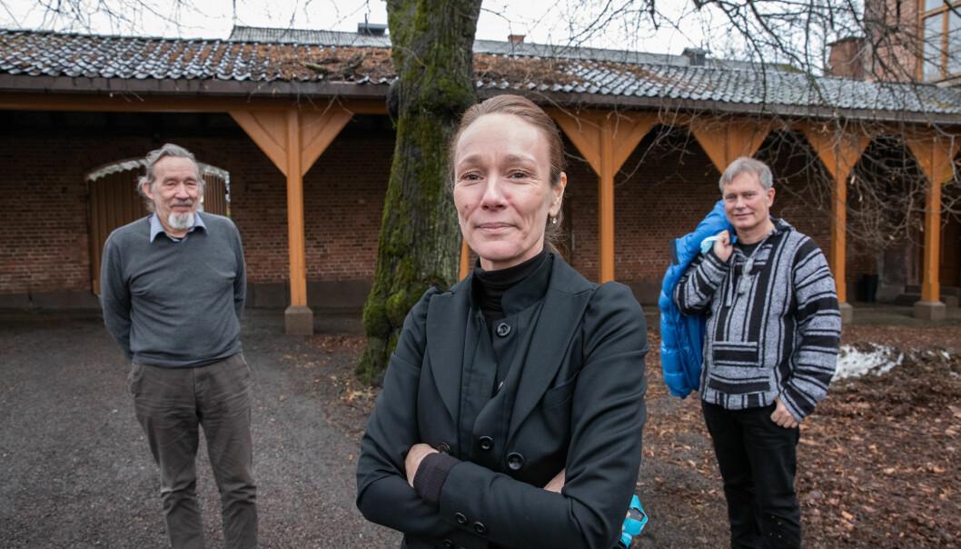 F.v. Overlege og psykiater Rune Tore Strøm, prosjektleder i HAB Camilla Birkevold og leder av Foreningen for Human Narkotikapolitikk, Arild Knutsen.