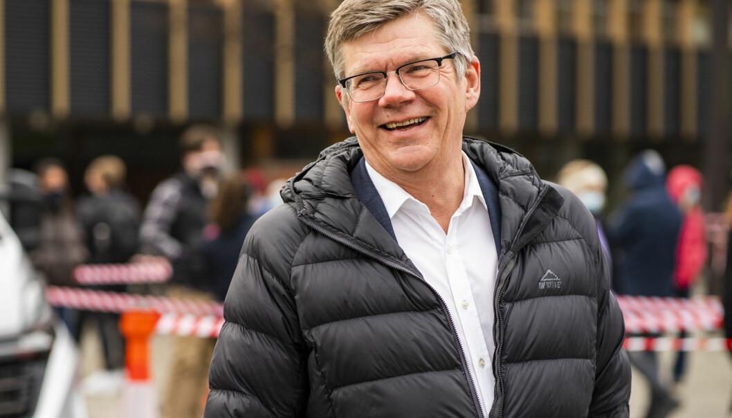 Rektor ved Universitetet i Oslo Svein Stølen er til stede når helsetjenesten ved Studentsamskipnaden i Oslo åpner et nytt korona-testtilbud på Universitetet i Oslo. Testingen vil foregå på Fredrikkeplassen på Blindern.