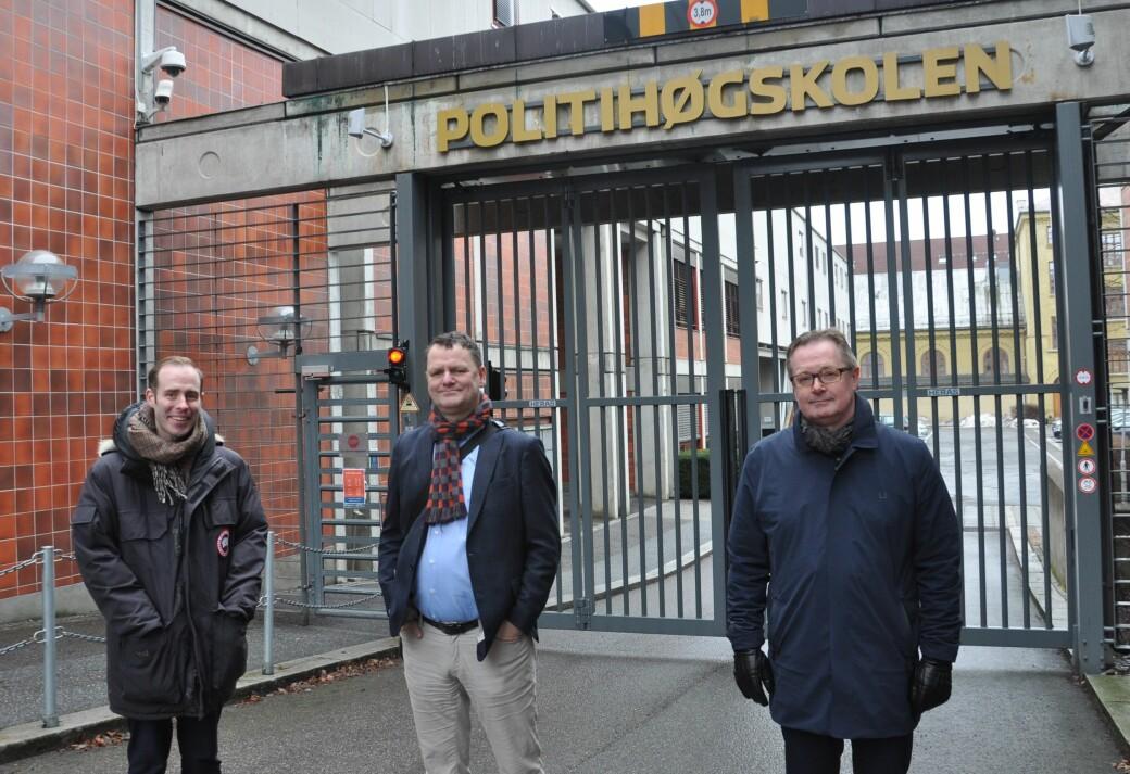— Her bør det etableres en ny barne- og ungdomsskole, sier Høyre-politikerne (fra v.) Vegard Rødseth Tokheim, Jens J. Lie og Yngvar A. Husebye.