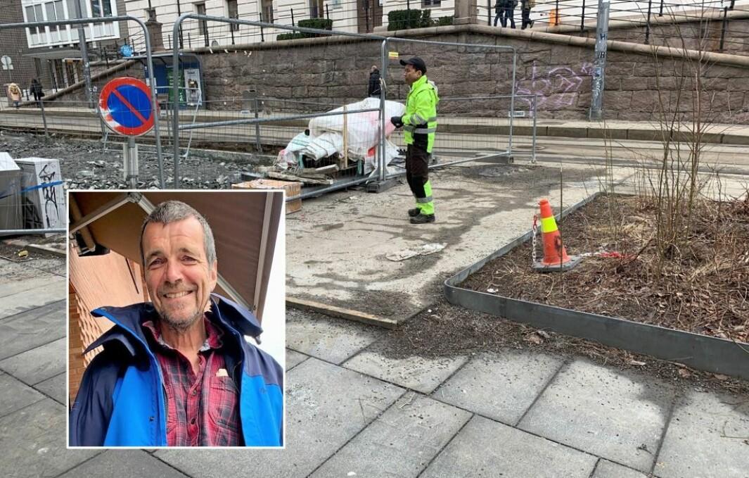 – Entreprenøren tilbyr seg å fjerne denne svære, stygge betongplaten på Cort Adelers plass. Hva svarer kommunen? Ingenting!