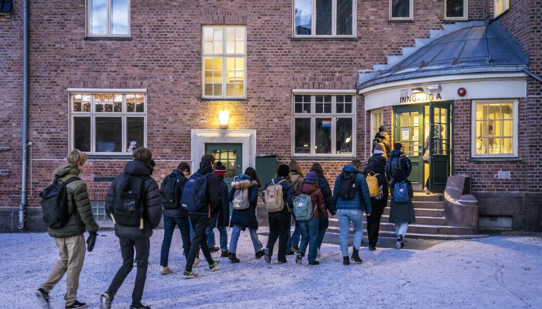 Redd barna er kritiske til at elevene ikke skal få gå på skolen. Her elever ved Fagerborg skole i bydel St. Hanshaugen.