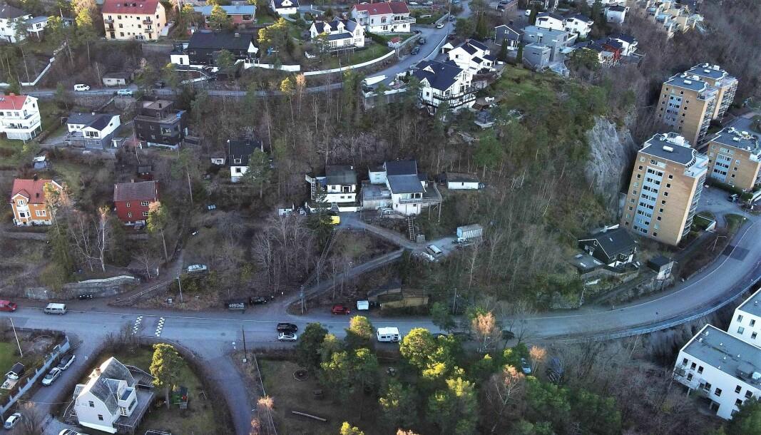 Dronefoto fra Linneadalen, mellom Ryen og Kværnerbyen.