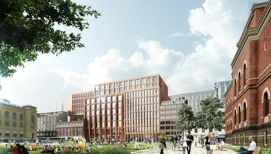 UiOs nye juridiske fakultet Domus Juridica (midten) og den nye parken på Tullinløkka er en viktig del av den nye bydelen.