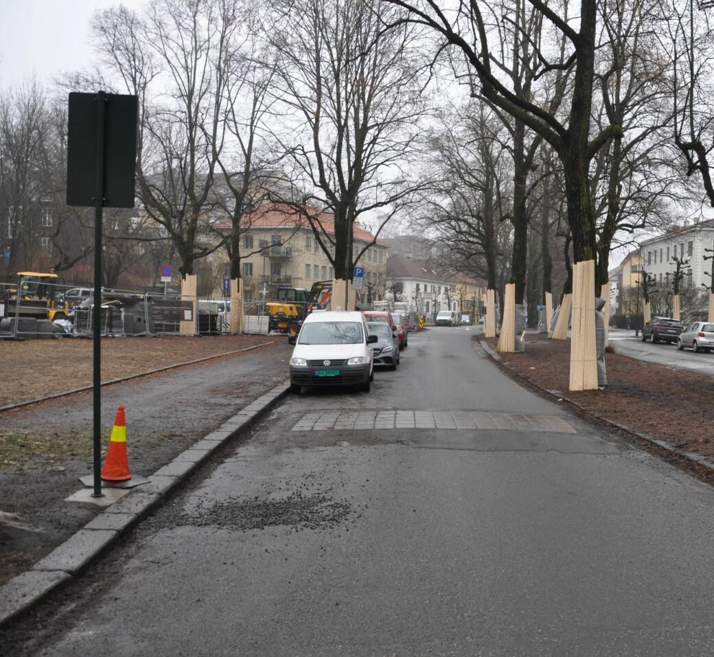 I februar var alt klart for anlegging av nye sykkelfelt i Gyldenløves gate. Iløpet av våren skal 160 p-plasser fjernes og ny rød sykkelvei-asfalt legges i den kjente Frogner-gaten.