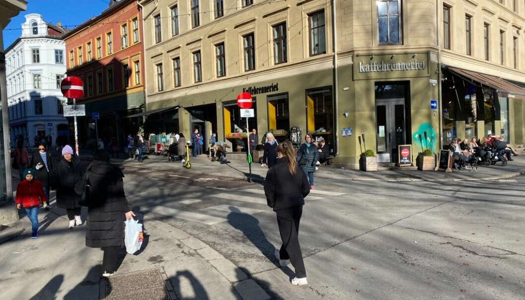Markveien en vinterdag før koronaen traff bydelen.