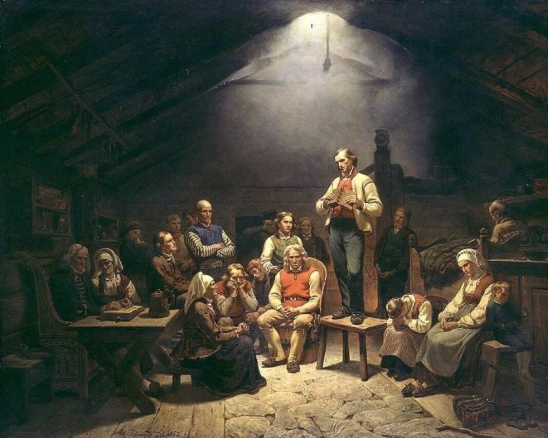 Haugianerne malt av Adolph Tidemand i 1852.