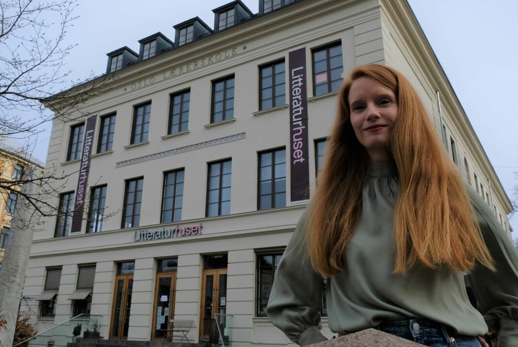Grå aprilhimmel over Litteraturhuset og daglig leder Susanne Kaluza forteller om de dramatiske konsekvensene av støttebortfallet.
