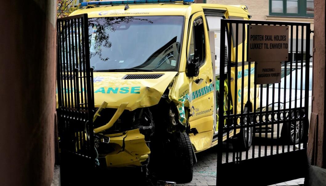 Her endte den livsfarlige ferden med den kaprede ambulansen - i porten til Tysklandgården i Krebs gate på Torshov.