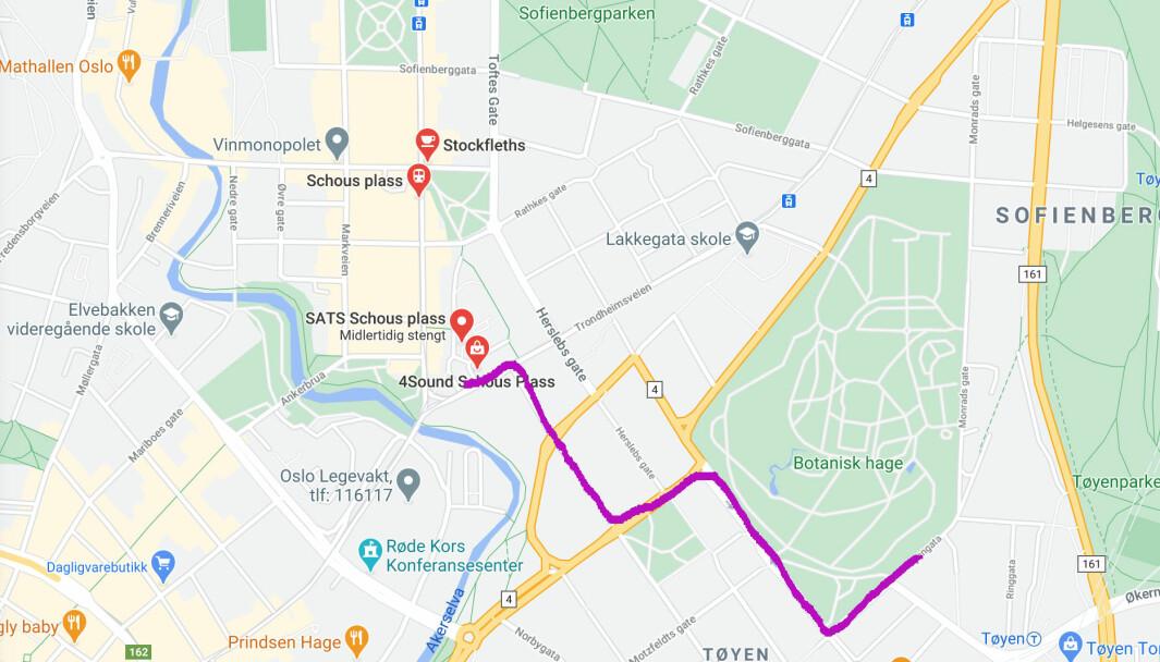 Dette er en mulig rute for gutten, som forsvant fra foresatte ved Botanisk hage ut mot Tøyen t-banestasjon. Han ble funnet av forbipassserende på Schous plass.