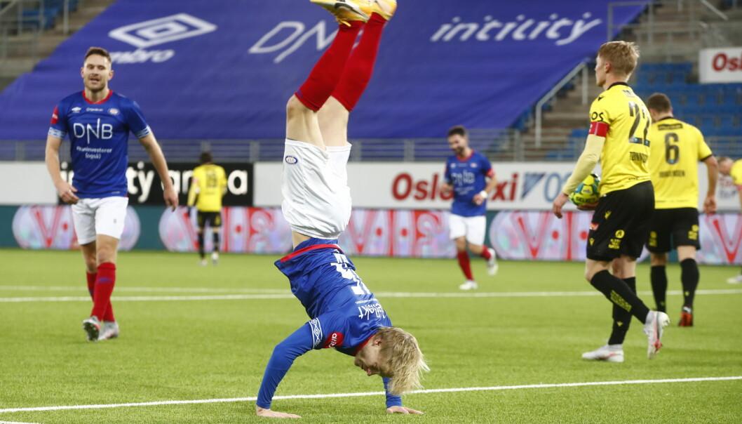 Odin Thiago Holm med spektakulær målfeiring forrige sesong.
