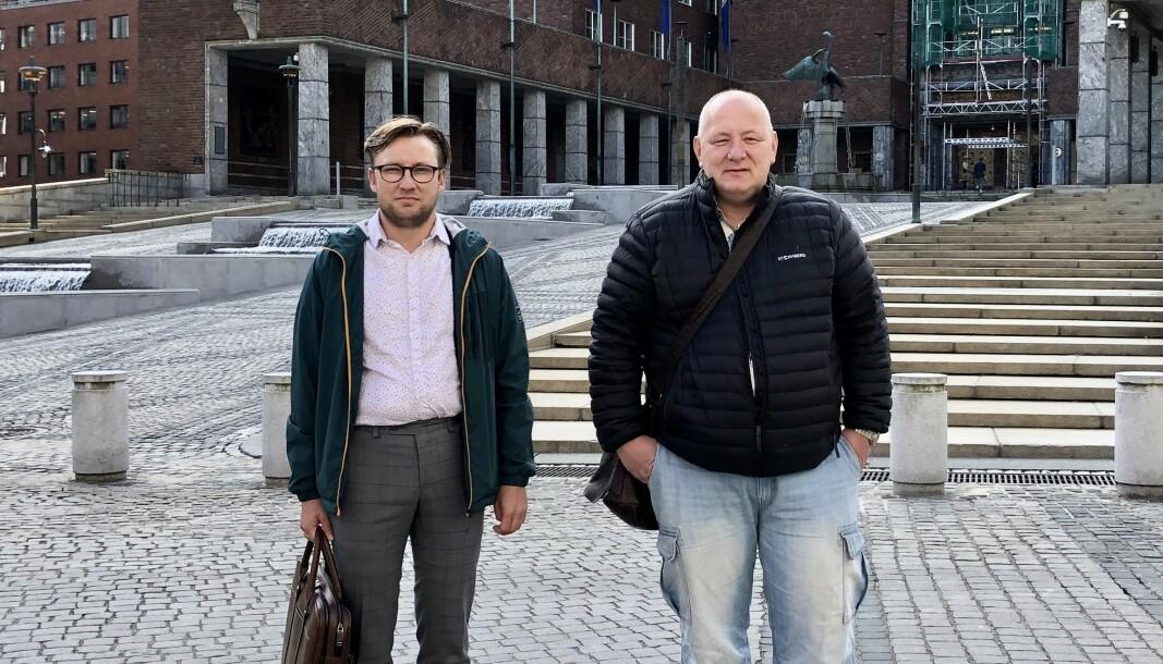 Sjefsforhandlerne for kommunen er Per Egil Johansen (t.v.) og Roger Dehlin, som leder Fagforbundet Oslo og Kommuneansattes Hovedsammenslutning.