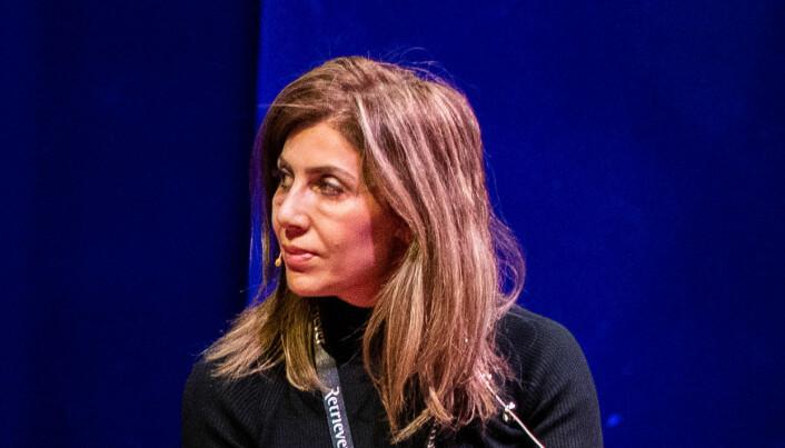 Fevziye Kaya Sørebø som ble skutt og drept på Frogner i Oslo onsdag morgen. Bildet er tatt på en journalistkonferanse i 2019, der Sørebø var engasjert som tolk.