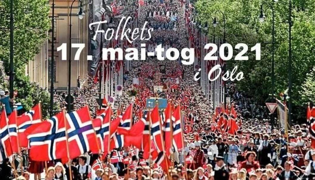 Dette bildet med tekst spres i sosiale medier. Koronafornektere oppfordrer folk fra hele landet til å møte opp ved Oslo rådhus 17. mai.