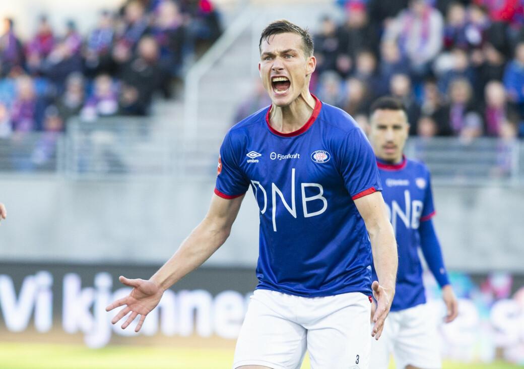 Engasjert Johan Lædre Bjørdal i 2019. Den tidligere VIF-stopperen gir seg som aktiv fotballspiller på toppnivå.