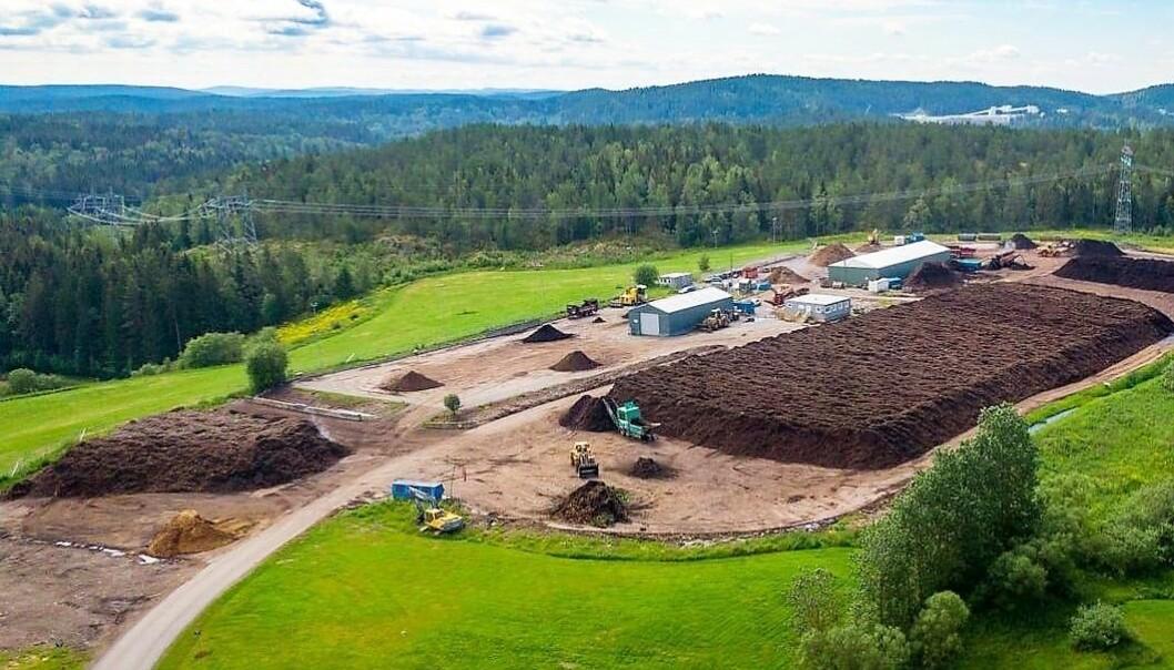 Her havner hageavfallet - Oslo kommunes komposteringsanlegg på Sørlimosen.
