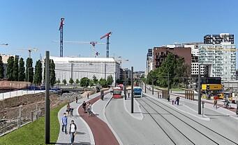 Om kort tid vil staselige nye Bispegata i Gamlebyen fylles med folk og kollektivtrafikk