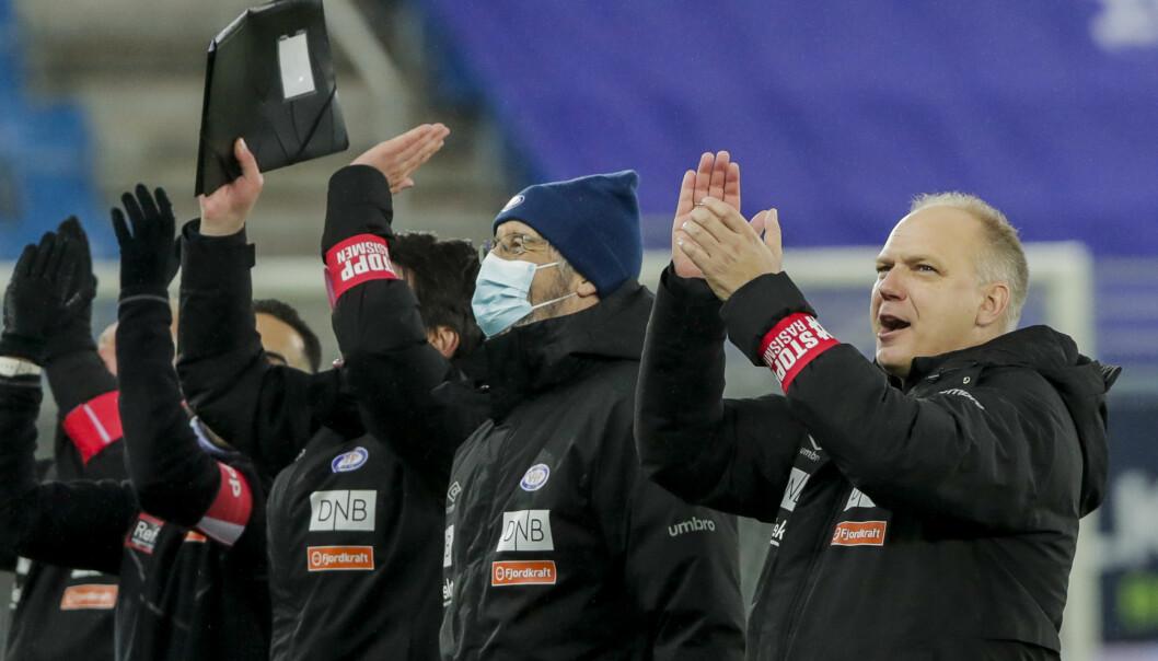 Vålerengas trener Dag-Eilev Fagermo (til høyre) feiret seriebronse forrige sesong.