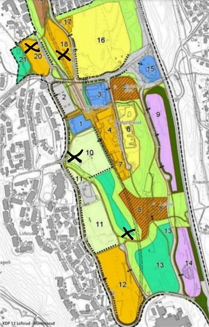 Skisse over utbyggingsfelt på Mortensrud. Foreslåtte plasseringer av en svømmehall på Mortensrud: Felt 10, 18, 20 eller unummerert park-/skogfelt felt øst for felt 11.