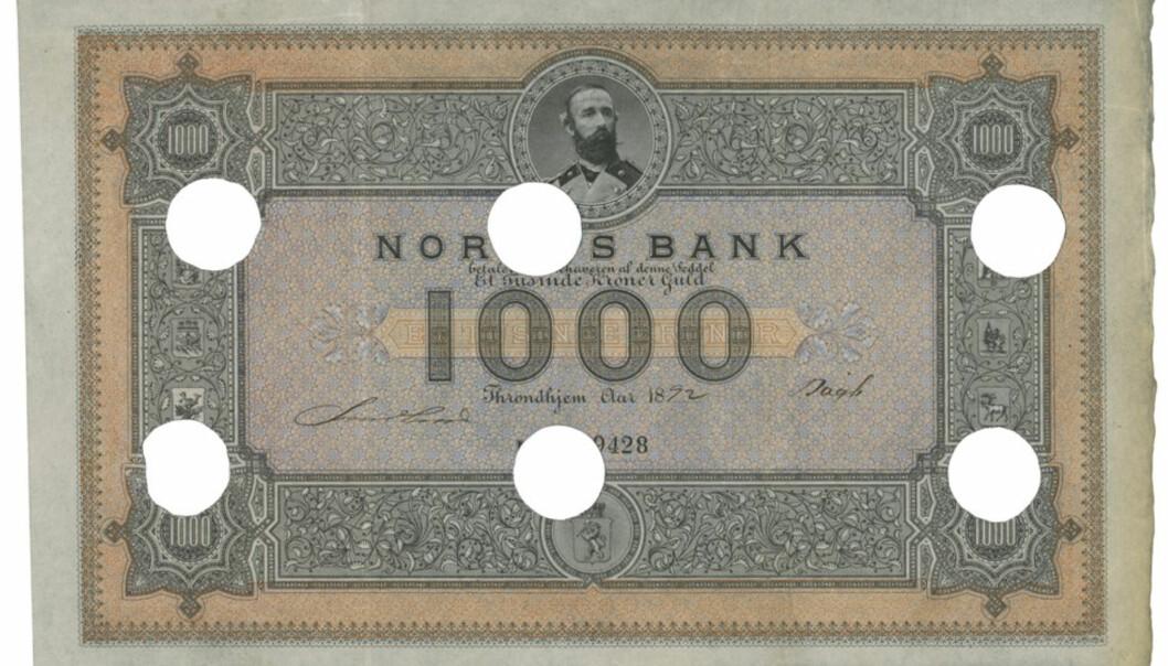 Den dyreste seddelen som noensinne er omsatt i Norge ble lørdag solgt på auksjon for 1,5 millioner kroner.