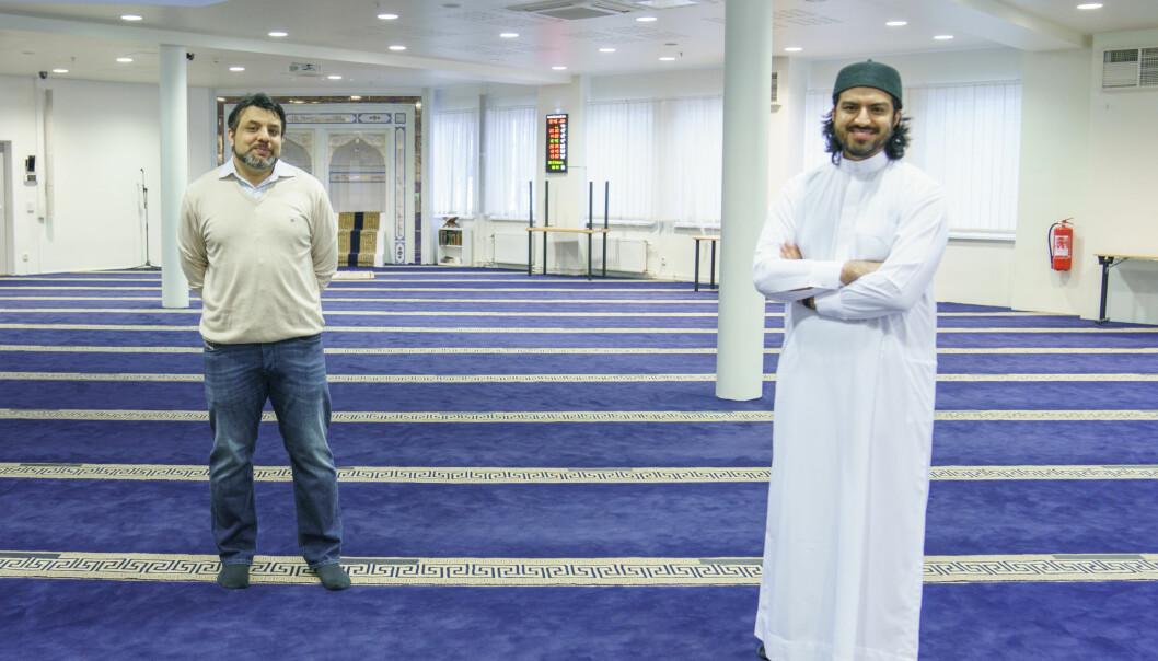I Islamic Cultural Centre på Grønland får ingen komme til bønn under ramadan på grunn av koronapandemien. Istedet sender imamen bønnen på nett. Styreleder Arshad Jamil og styremedlem Hummam Bhutta i Islamic Cultural Centre.