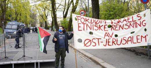Flere hundre demonstrerte utenfor Israels ambassade i Parkveien