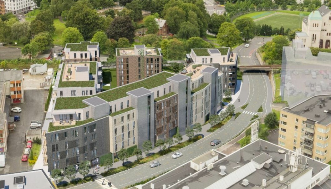 Her i Ensjøveien 3-5 skulle Ferd Eiendom bygge leiligheter. Nå blir det i stedet kontorer for NRK.