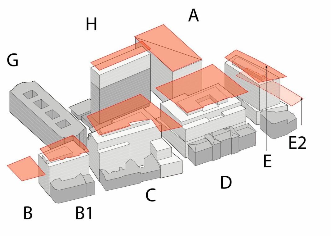 Her er forslaget til det nye regjeringskvartalet og alle byggene i forhold til hverandre.