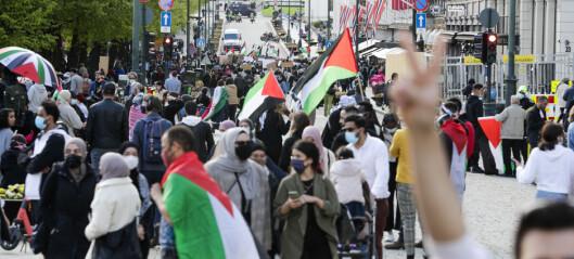 Eidsvolls plass: To til tre tusen mennesker demonstrerte mot israelske angrep på Palestina