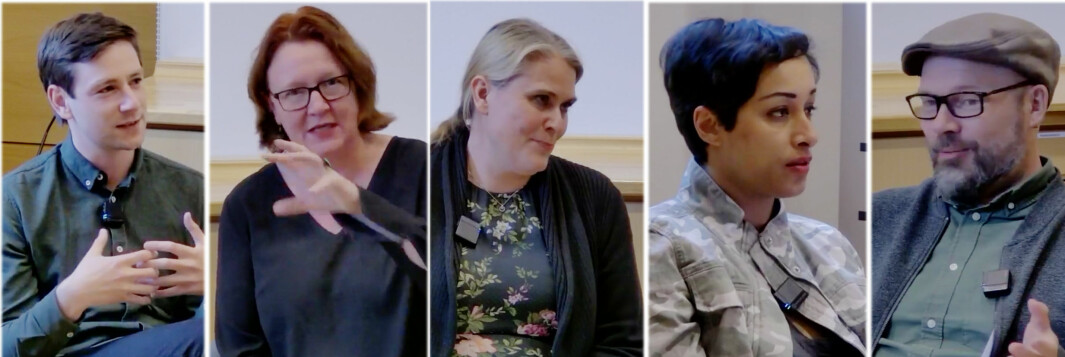 Andreas Skjalg Unneland , Bjørg Sandkjær (SP), Siri Gåsemyr Stålesen (Ap), Sofia Rana (R) og Rasmus Reinvang (MDG) diskuterte bolipolitikk med fokus på leiemarkedet hos Leieboerforeningen denne uka.