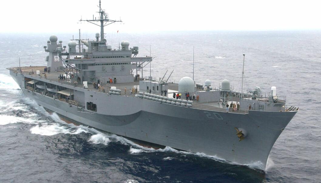 USS Mount Whitney er den amerikanske sjette flåtens flaggskip og kommandobåt. Den 189 meter lange båten har svært avanserte datasystemer ombord.