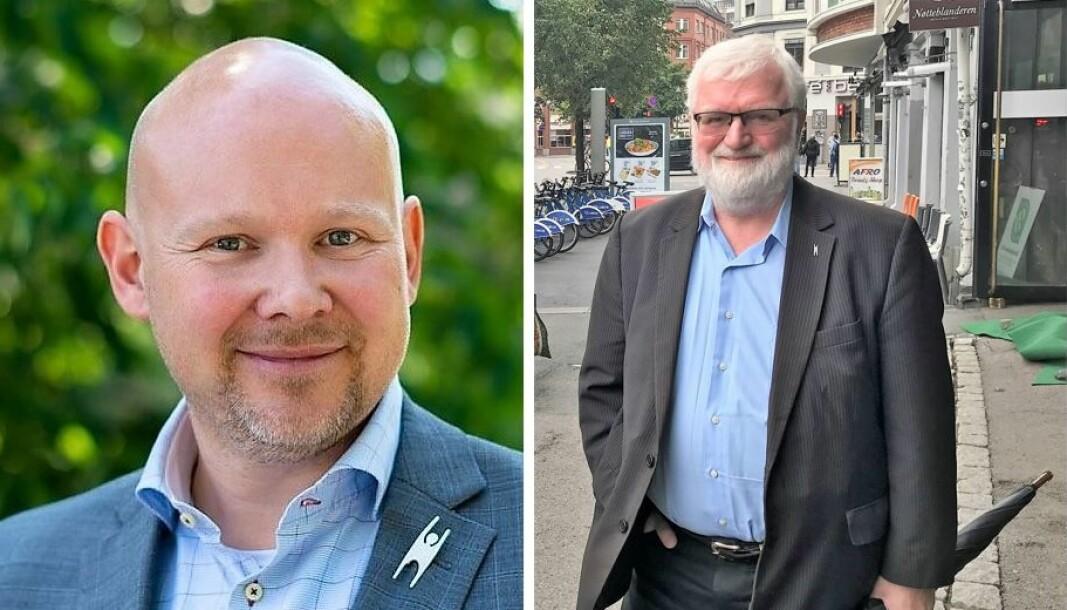 Trond Enger (til v.) og Roar Johnsen deltar gjerne i arbeidet med å utforme byens nye tros- og livssynspolitikk.