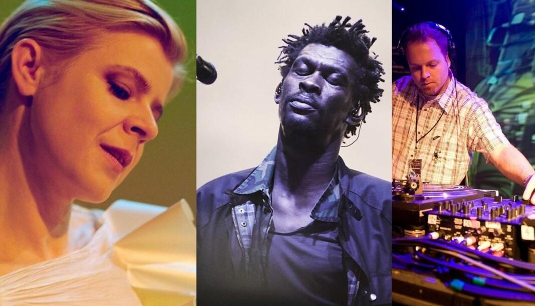 Disse deltar i neste års PiPfest. Fra venstre: Robyn,Grantley Marshall i Massive Attack og DJ Shadow.