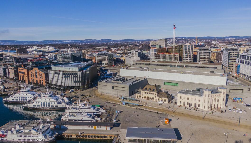 Nasjonalmuseet, Nobels Fredssenter og Aker Brygge i Oslo.