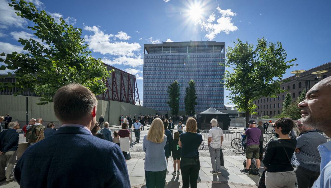 Den nasjonale støttegruppen og AUF holdt en markering fra Regjeringskvartalet. Det er ni år siden terrorangrepet mot regjeringskvartalet og Utøya. På grunn av korona blir det en dempet markering av angrepet som tok 77 liv.Foto: Heiko Junge / NTB