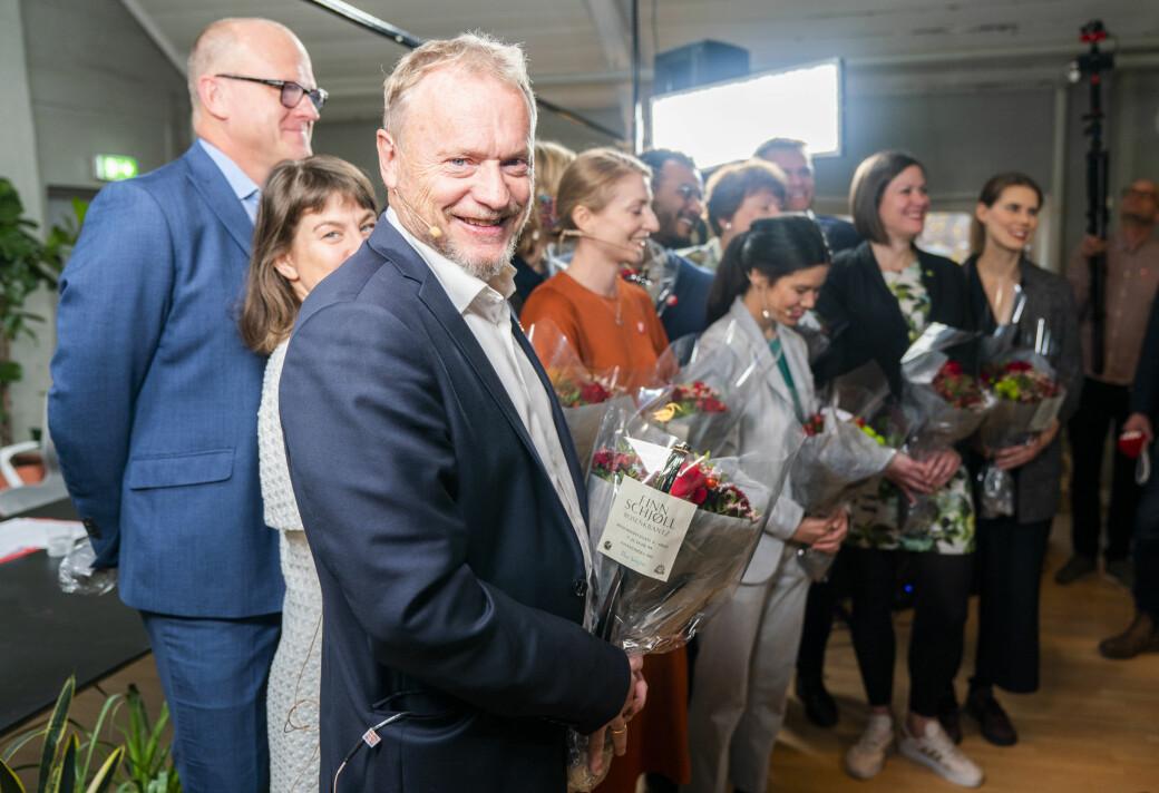 Lykkelige dager etter å ha blitt gjenvalgt med det rødgrønne byrådet høsten 2019. Spørsmålet nå er om byrådsleder Raymond Johansen (Ap) stiller seg bak Lan Marie Berg. Da kan hele det rødgrønne Ap/SV/MDG-byrådet gå av.