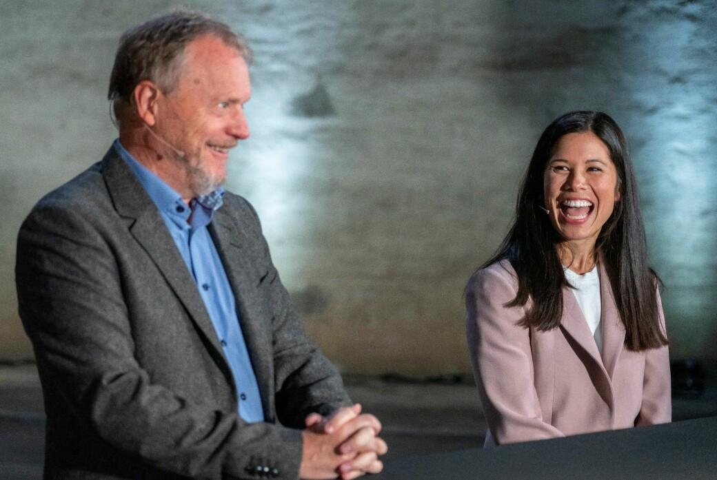Lan Marie Berg (MDG) og byrådsleder Raymond Johansen (Ap) i godt humør da Oslos nye trikker ble lansert i fjor.