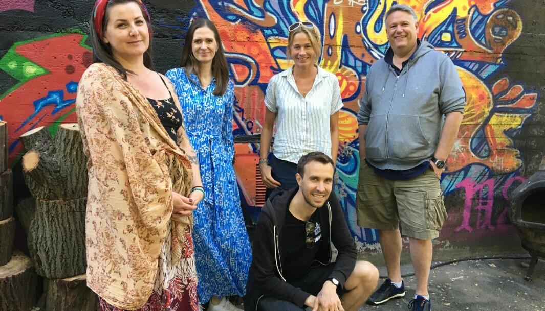 Dette er noen av de sentrale initiativtakerne bak Løkka-lykke: Hanne Ugelstad; fra Street art Oslo, Stine Berg Lühr; fra RSV eiendom, James Finucane; fra Street art Oslo, Rebekka De Leon; fra Løkka gårdeierforening og Jan Spandow, fra Spabo.