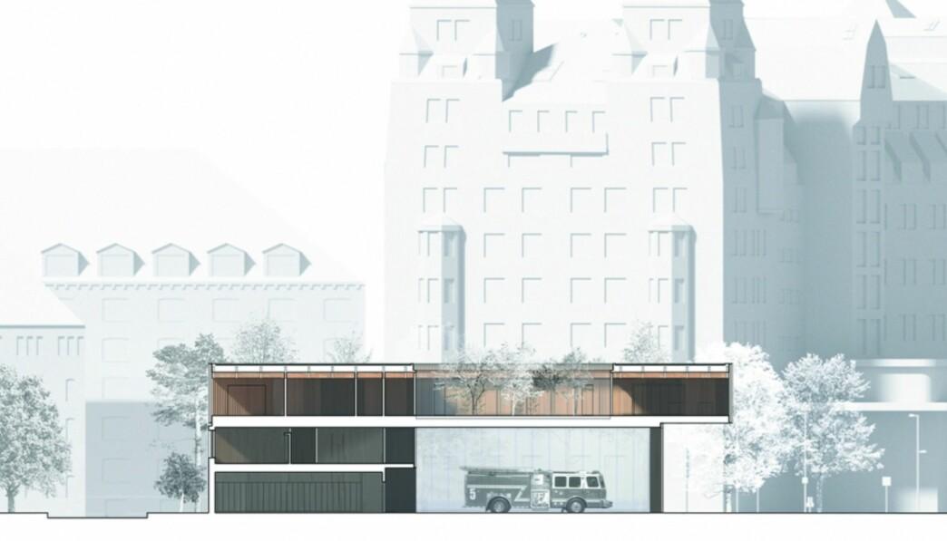 Den nye brannstasjonen vant en åpen arkitektkonkurranse med 103 innsendte forslag. Vinneren var det danske arkitektkontoret Gottlieb Paludan Architects.