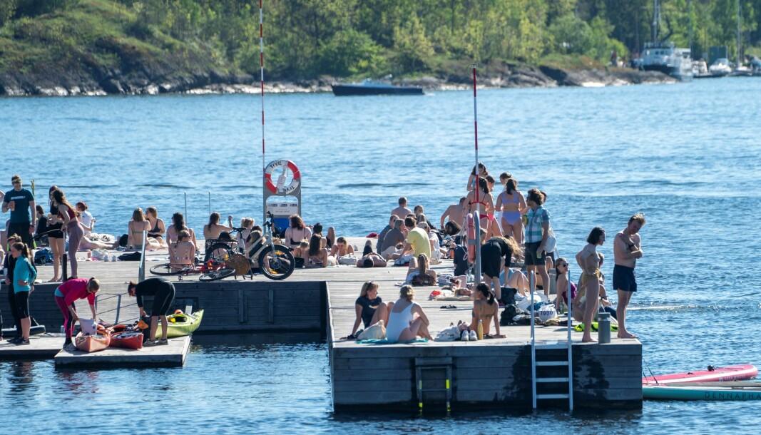 Sørenga i Oslo er et populært badested, her fra en solskinnsdag i slutten av mai.