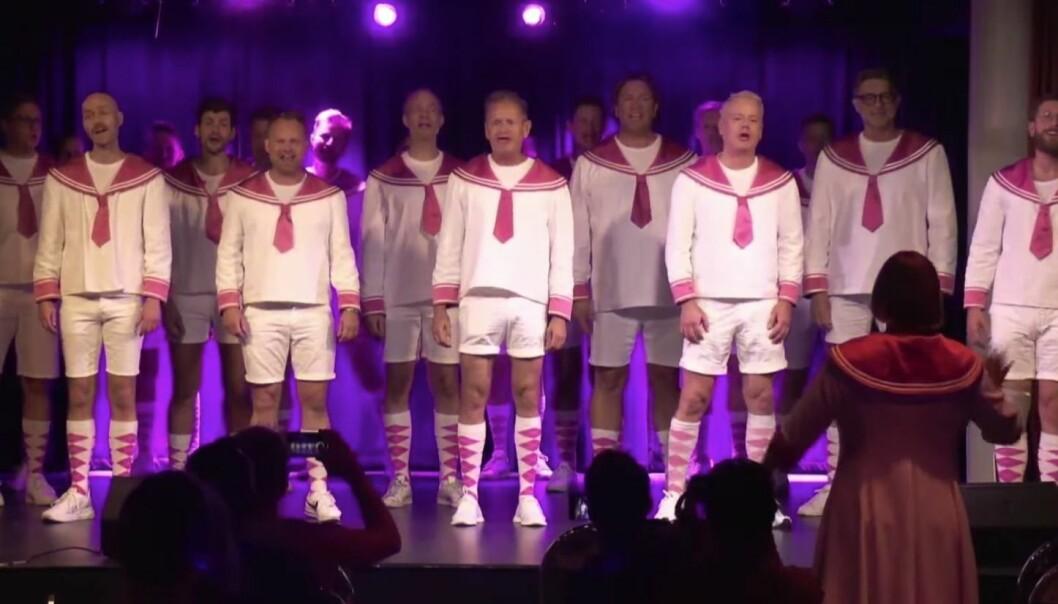 Oslo Fagottkor framførte sin uforglemmelige versjon av «Somewhere over the rainbow» etter prisutdelingen.