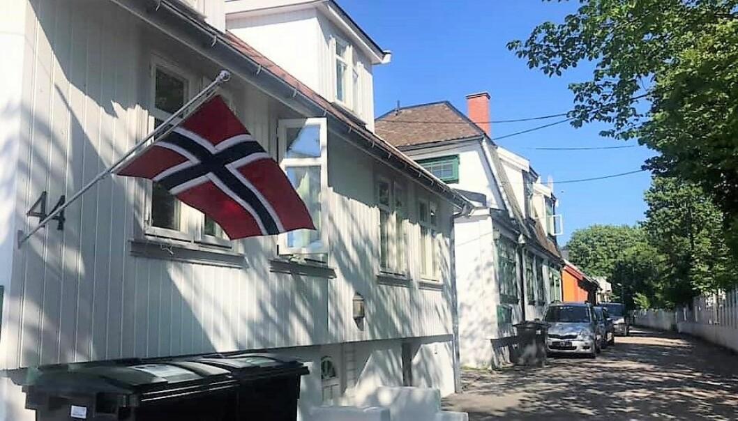 Flagget var på plass på Hylla for å feire torsdagens delseier