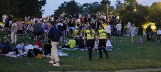 Mange folk samlet seg nok en gang i byens parker natt til søndag, men uten store problemer