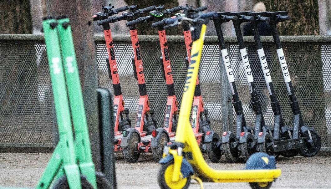 Elsparkesykler fra Bolt, Voi, Wind og Bird på gata i Oslo. Foto: Gorm Kallestad / NTB