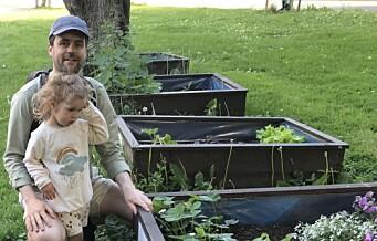 Martin (37) lærer datteren om blomstring, liv og vekst. Men mange må vente lenge for å få et lite, urbant jordstykke