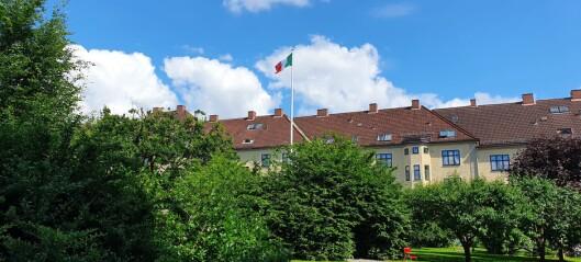 Se, et italiensk flagg henger over Frankrikegården på Torshov