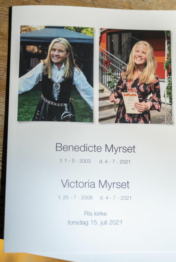 Benedicte og Victoria Myrset døde i et lynnedslag på en fjelltopp i Hareid i begynnelsen av juli. Torsdag ble de bisatt fra Ris kirke i Oslo.